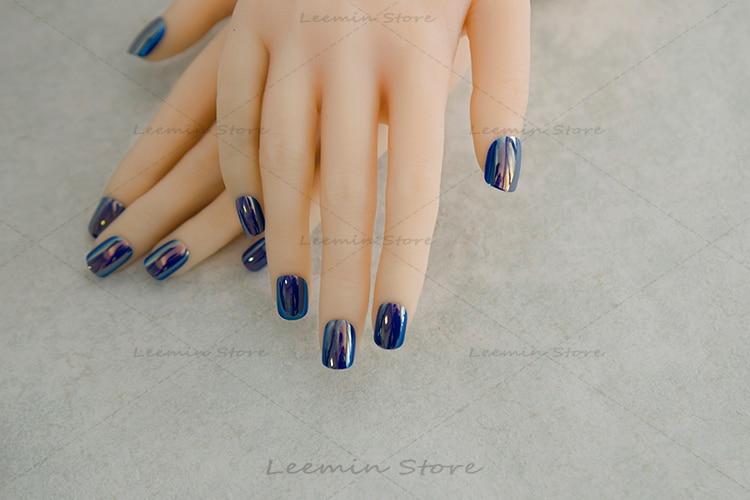 2016 moda Manikür mavi güzgü dırnaq rəngi əks etdirən çoxlu - Dırnaq sənəti - Fotoqrafiya 5