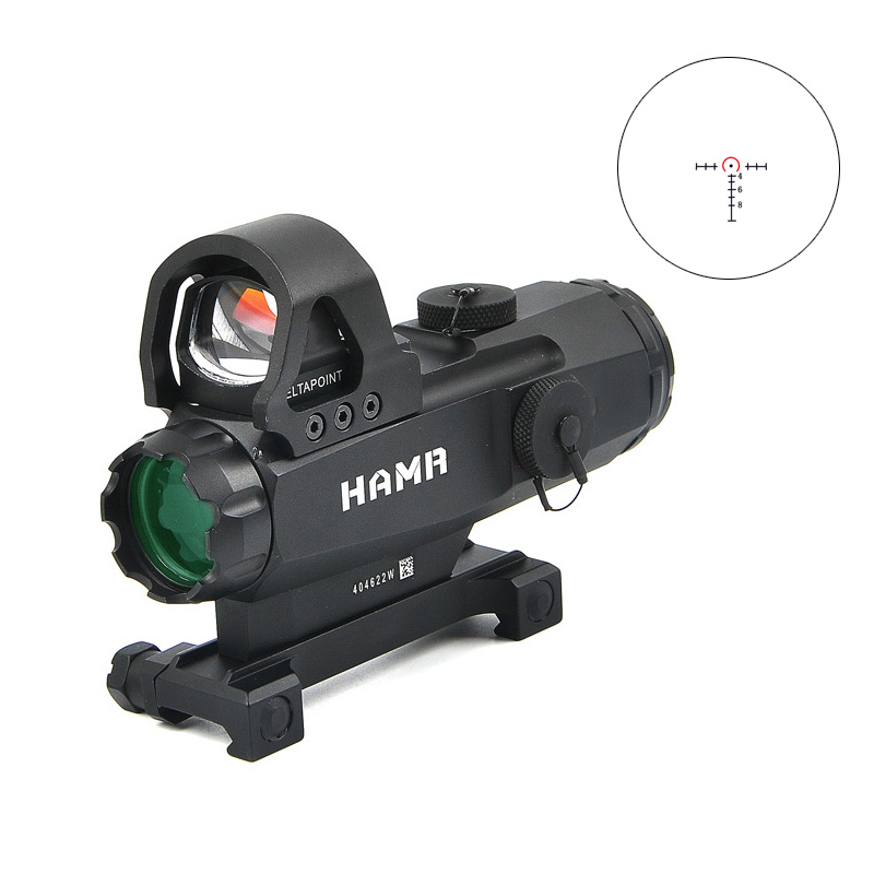 Tactical 4x24mm Rifle Scope with Mark 4 High Accuracy Multi Range Riflescope HAMR For Outdoor Hunting