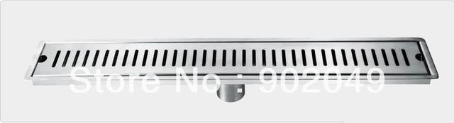 High Quality Stainless Steel  Chrome Plated Shower Linear Drain Bathroom Drain Free Shipping KL-F-CO30(800mm Diameter50mm )