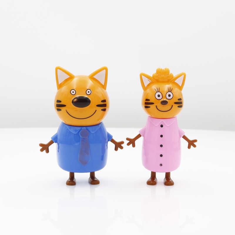 2019 5pcs Russo Tre Felice Gatti Gattini Action Figures Bambola Russa Gatto Animali Figurine Dei Bambini Del Capretto giocattolo Di Natale Del Opp borsa