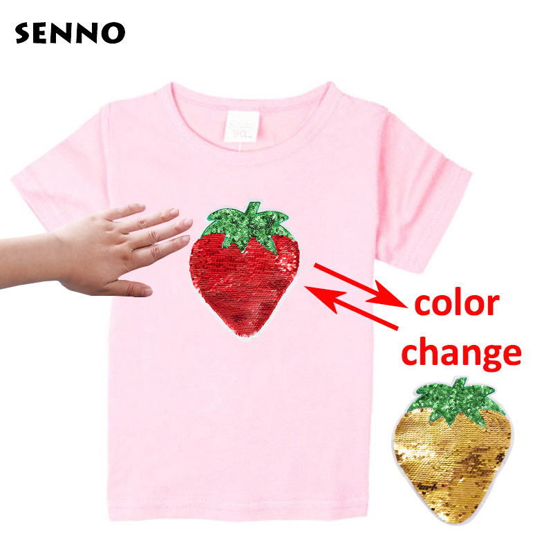 Strawberry Color Change Girls T-Shirts Kids T-Shirt With Sequin Reversible Sequin Girls T Shirt Kids Teen Glitter Flash T Shirt