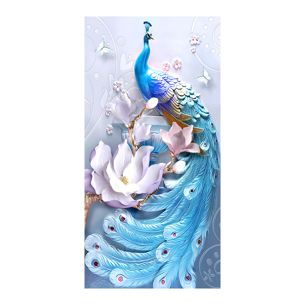 Relief blue Peacock animal Diamond Painting Full Round floral New DIY Sticking Drill Cross Embroidery 5D Home Decoration