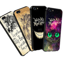 Phone Cases For Samsung galaxy a8 2018 Alice in Wonderland Cheshire Cat We're All Mad Here Case For Samsung a5 j5 2017 Cover(China)