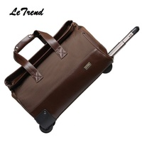 Letrend New Fashion Waterproof Rolling Luggage Business Travel Bag Checked luggage Trolley Men Trunk Suitcase