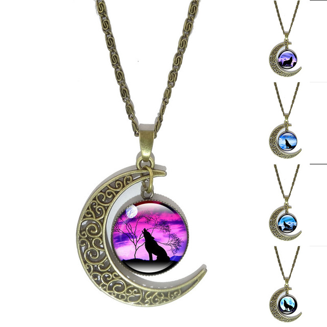 Xushui xj howling wolf glass pendant necklace vintage jewelry bronze xushui xj howling wolf glass pendant necklace vintage jewelry bronze crescent moon cabochon necklaces for women aloadofball Choice Image