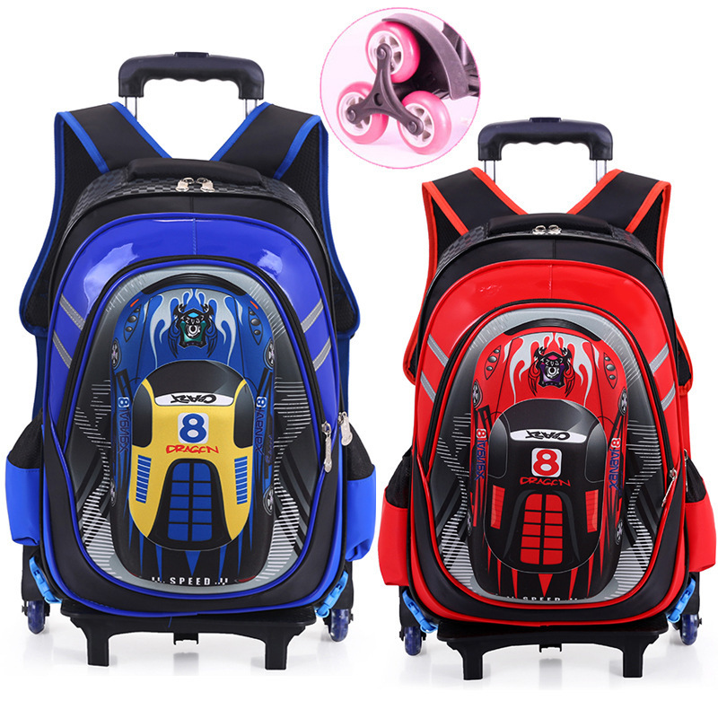 Hot Waterproof Boys Trolley School Bag Classic Travel Luggage Suitcase On Wheels Kids Rolling Backpack Girl Book Bags Detachable 2016 new large capacity travel suitcase on wheels trolley bag rolling bag high quality polyester travel bags