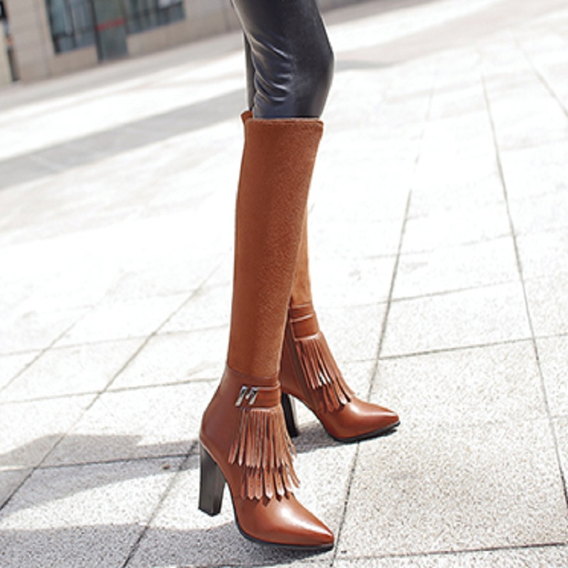SALCXOI over the knee boots winter boots women fashion high heel fringe pointed toe womans black boots sexy boots &2197-2 name brand pointed toe high heel women winter boots fashion custom over the knee women leather boots size 34 to 42 free shipping