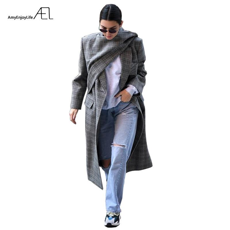 AEL Female Irregular Woolen Overcoat Winter scarf collar Runway Customized Women's Clothing Grey lattice-in Wool & Blends from Women's Clothing    1