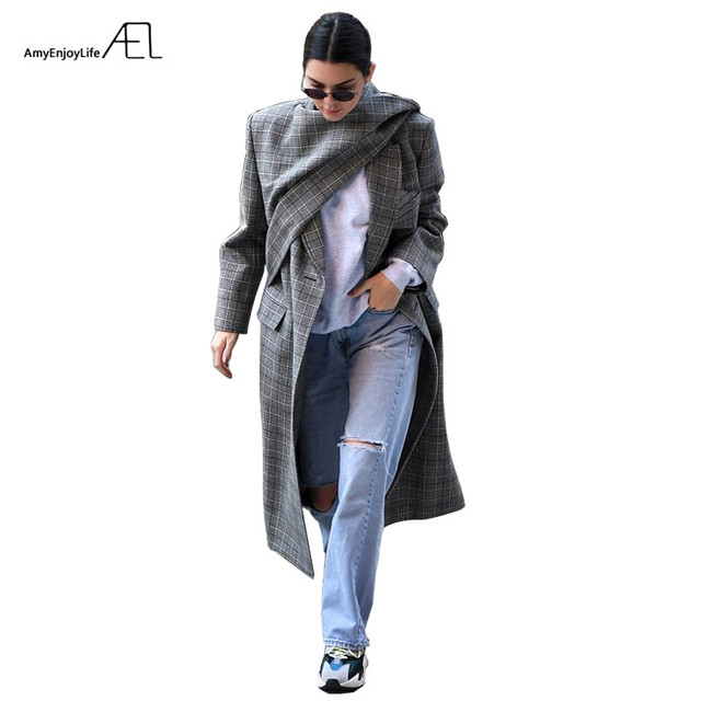 AEL Female Irregular Woolen Overcoat Winter scarf collar Runway Customized Women's Clothing Grey lattice
