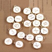 Mini Order 26PCS 12 15MM White Enamel Letter Charms Gold Tone Drop Oil Alphabet Initial Bracelet