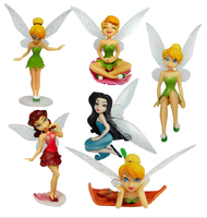 hot Wholesale High Quality PVC (6pcs/set) Exquisite Flower Fairy Tinkerbell Fairy Adorable tinker bell Figures Retail