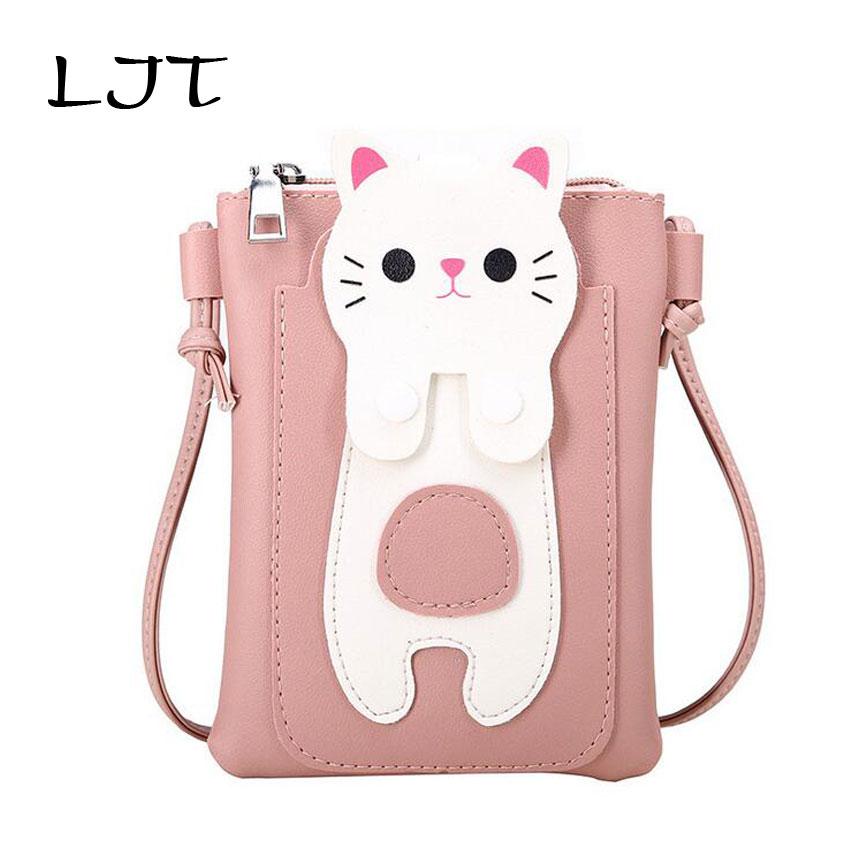 LJT Pink Bag Children Cute Shoulder Crossbody Bag Baby Girls Lovely Cat Purse Children Birthday Gifts Mobile Phone Bag Bao Bao