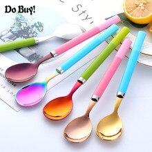 Stainless Steel Spoons With Plastic Handle Korean Style for Ice Cream Tea Coffee Dinner Rice Salad Tableware