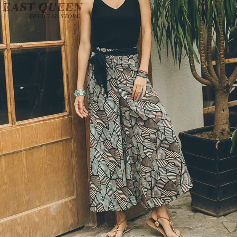 Boho hippie chic beach Palazzo culotttes femme   wide     leg     pants   women female loose baggy ladies   pants   trousers AA3970
