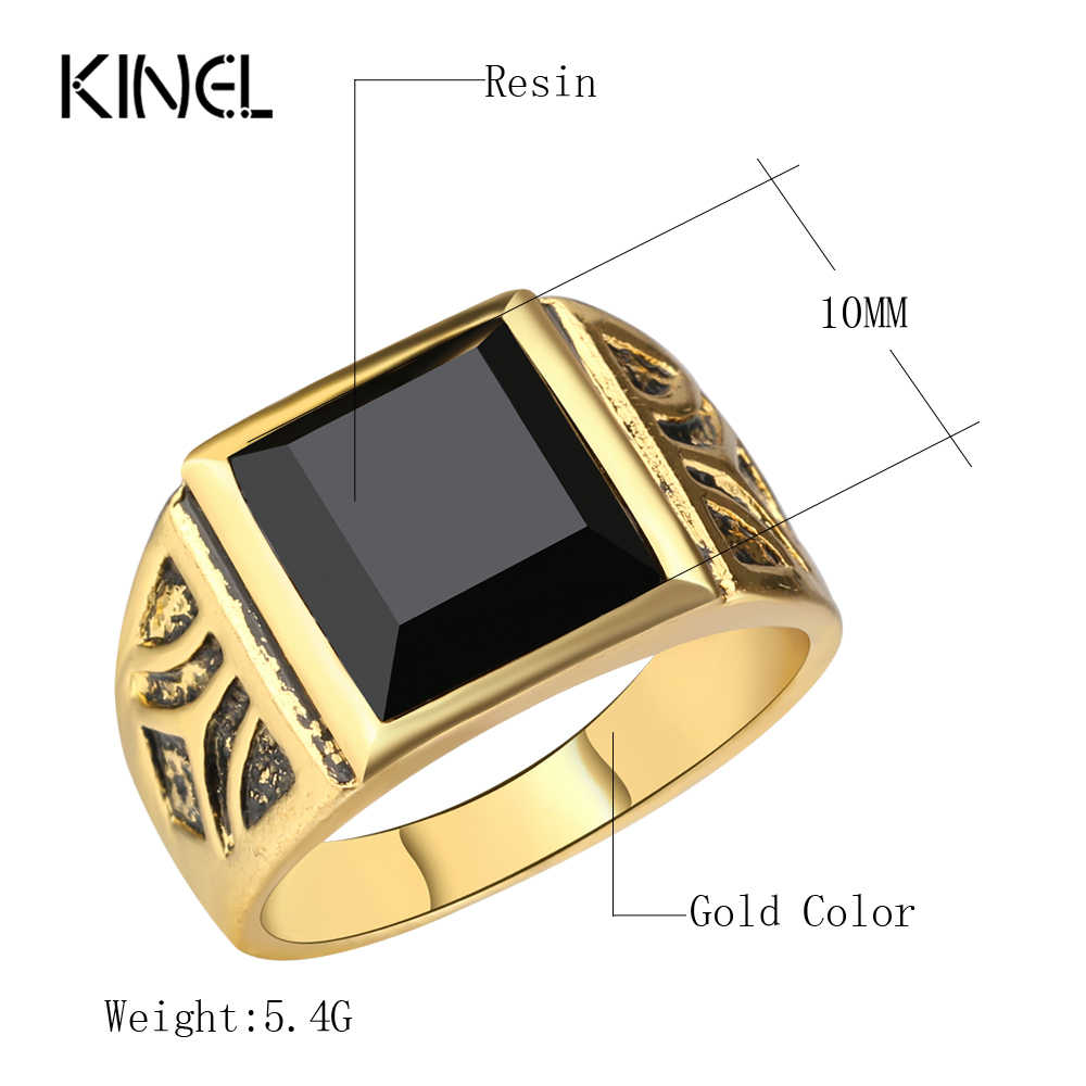 Kinel Fashion Dubai Oro Zircone Color Uomini Anello di Cerimonia Nuziale Paty Accessori Punk Nero Anello Dei Monili Dell'annata del Commercio All'ingrosso 2020 Nuovo