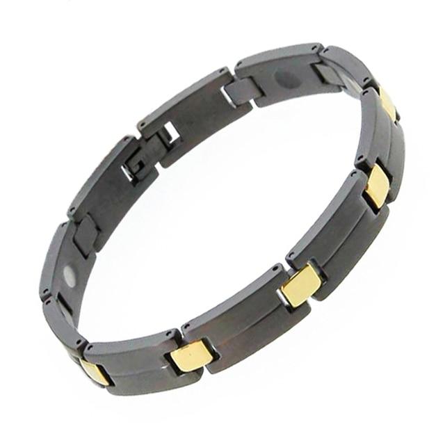 2018 WholeSale Energy Magnetic Health Bracelet Men Newest Style Black Gold Titanium Steel Bracelets for Men With Pure Germanium