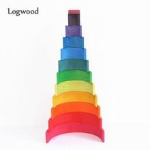 Детские игрушки 12 шт. 6 шт. радужные блоки деревянные игрушки для детей большие творческие радужные строительные блоки Монтессори обучающая игрушка
