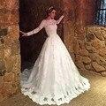 2016 Новый Элегантный Vestido Де Noiva Длинные Свадебные Платья Сексуальный Белый Тюль Аппликации Длинные Рукава Бальные Платья Свадебное Платье PW72