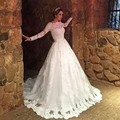 2016 New Elegant Vestido De Noiva Long Wedding Dresses Sexy White Tulle Appliques  Long Sleeves Ball Gowns Bridal Gown PW72