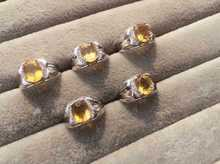 Natural citrine stone Ring Natural  yellow crystal  Ring S925 sterling silver trendy luxurious big round women men gift Jewelry