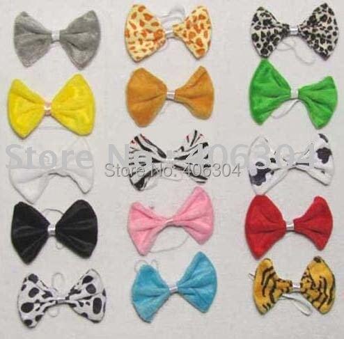 Детский галстук-бабочка, бант с животными, много цветов, короткий плюш, 20 шт./партия