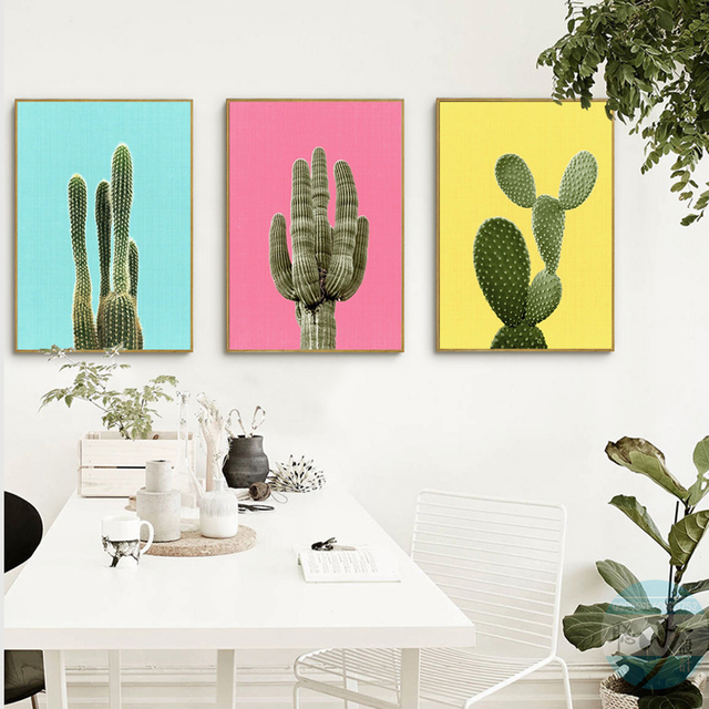 green plant cactus canvas art print poster still life cactus wall picture canvas painting home decor - Home Decor Paintings