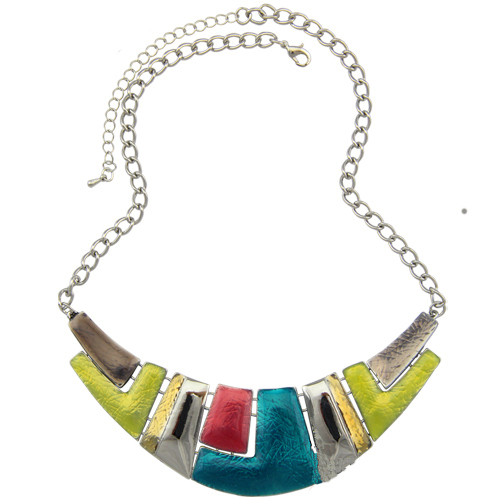 Fashion Jewelry 2016 Women Channel Necklace Ethnic Silver Plated Colorful Enamel Chunky Statement Choker Necklace