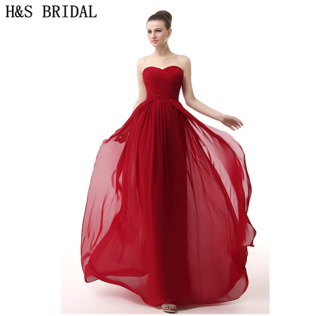 H&S BRIDAL Chiffon Sweetheart elegant evening gowns Red Cheap ...