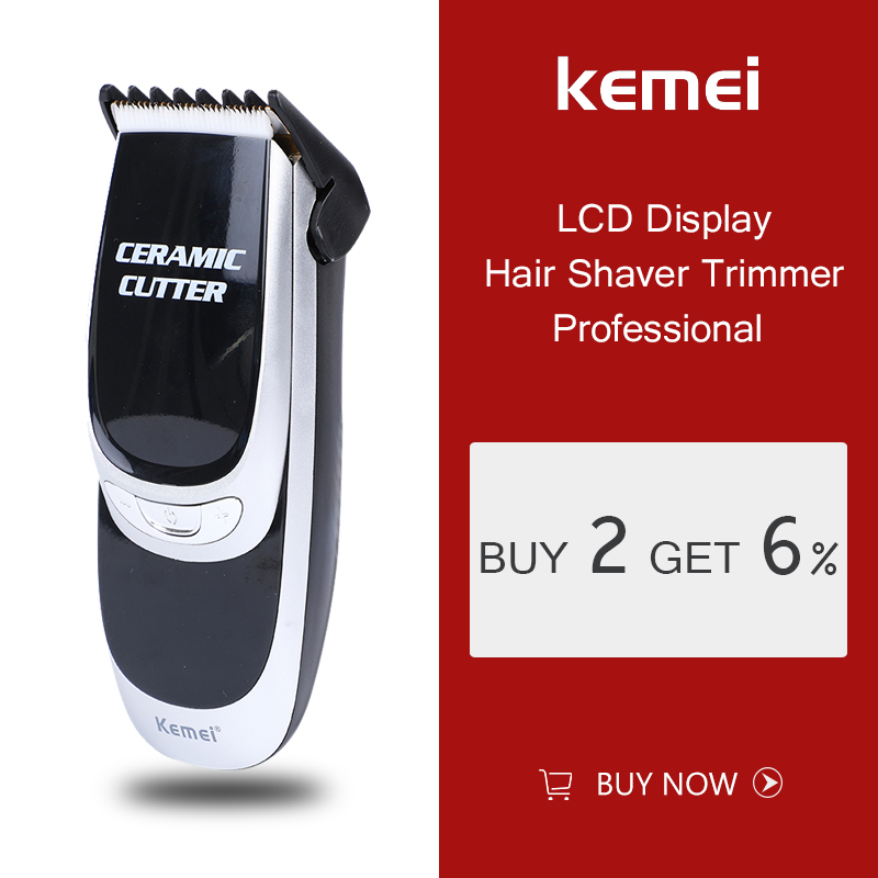 Kemei KM-6035 Hair Trimmer LCD Dispaly Rechargeable Electric Clipper Beard Shaver Steel Blade Head Removal Razor