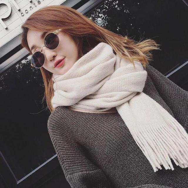 6dfb23d1b1dc Mingjiebihuo Nouvelle Mode Coréenne Printemps Automne Hiver longue écharpe  en laine pur couleur À Tricoter épaissie chaud hommes et femmes€ 7,52