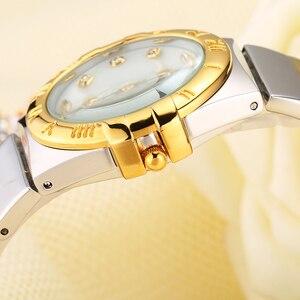 Image 3 - MISSFOX ساعات أنيقة النساء الماس الأرقام الرومانية اللؤلؤ قذيفة الكلاسيكية السيدات ساعة ذهبية مقاوم للماء الإناث كوارتز ساعة اليد