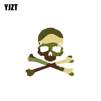 YJZT 10CM*10CM Camouflage Funny Skull Car Sticker PVC Decal Accessories 6-0023 image