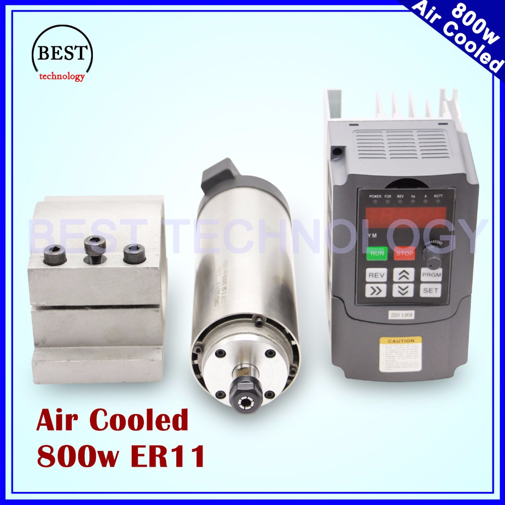 220V 800W ER11 Air cooled spindle motor 4 bearings Precision 0.01 & 0.8kw VFD inverter & 65mm aluminium bracket clamp water cooling spindle sets 1pcs 0 8kw er11 220v spindle motor and matching 800w inverter inverter and 65mmmount bracket clamp