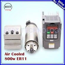 220 V 800 W ER11 chłodzony Powietrzem silnik wrzeciona 4 łożyska Precyzyjne 0.01 & 0.8kw falownika VFD i 65mm uchwyt aluminiowy zacisk