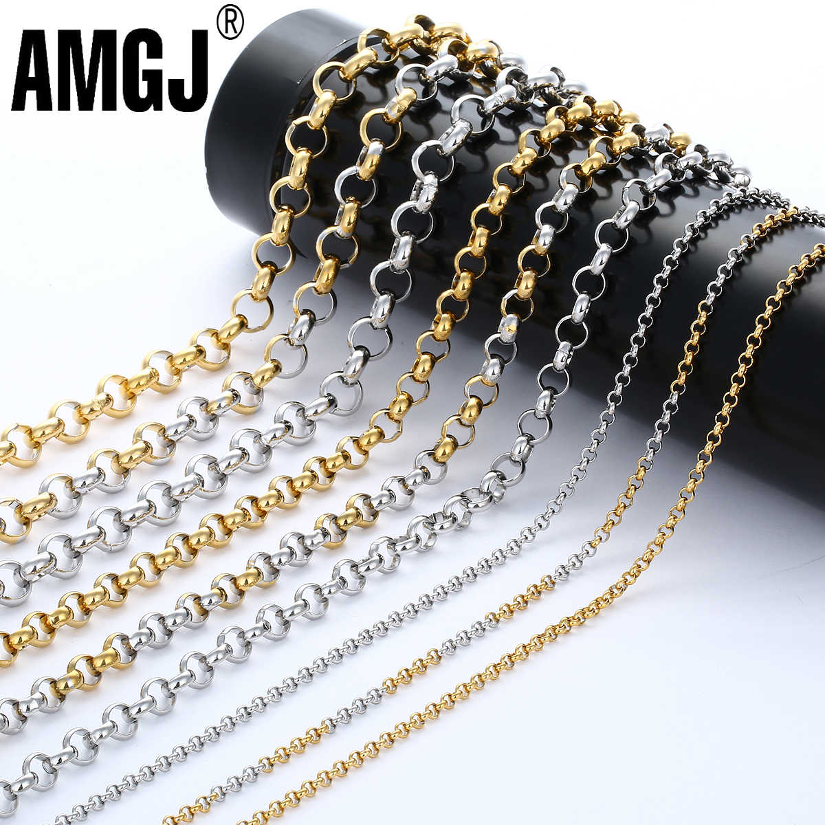 AMGJ Wholesale Mens Necklace Chain Stainless Steel Silver Tone Rolo Link Chains Necklaces for Men Jewelry Fashion 2/3/4/6/7mm