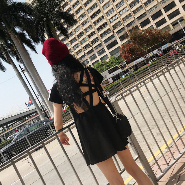 2018 New Arrival Vintage Dark Gothic Pentagram Blackness Punk Sexy Club Black/Red Hollow Out Mini Dress Metal Harajuku Vestdios  4