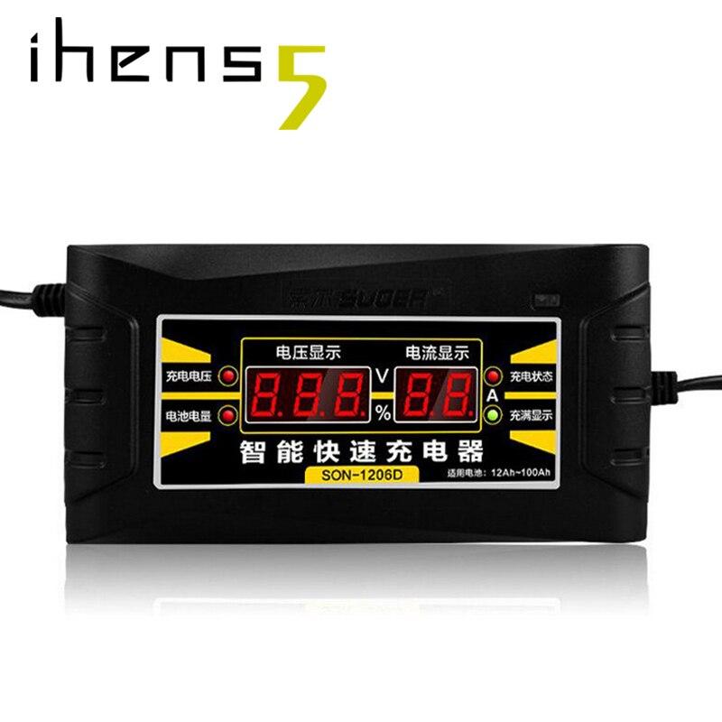 Ihens5 cargador de batería de motocicleta rápido inteligente automático de 110 V/220 V de salida 12 V 6A con pantalla LCD para ácido de plomo seco húmedo