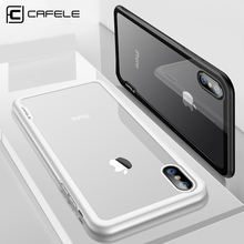 CAFELE Original Case For iPhone X 10 soft TPU edge Tempered Glass Ultra Thin Transparent Glass Back Cover For Apple iPhones X 10(China)