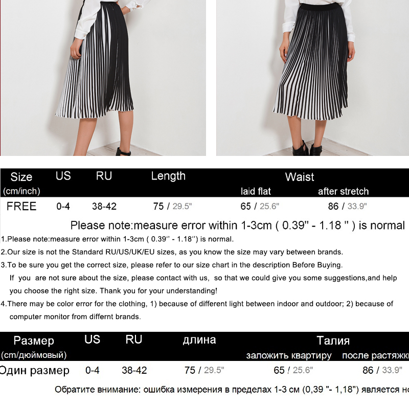 0902b1eafc62 Casual Pleated Skirts Womens 2018 Summer New Fashion Chiffon Long Skirt  Black And White Striped Elastic High Waist Skirt Women-in Skirts from  Women's ...