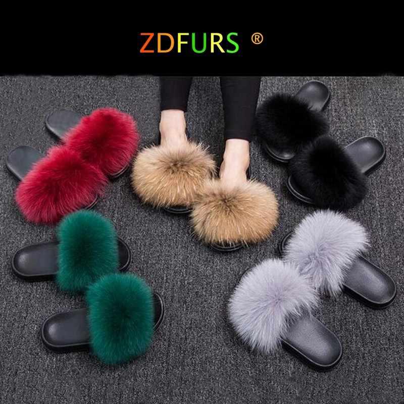 3986b96f3ffcd ZDFURS 2019 Fashion Fox Fur Slippers Real Fur Slides Summer Flip Flops  Casual Vogue Fox Fur Sandals Vogue Plush Shoes Wholesale