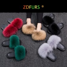 ZDFURS 2019 Fashion Fox Fur Slippers  Real Fur Slides Summer Flip Flops Casual Vogue Fox Fur Sandals Vogue Plush Shoes Wholesale