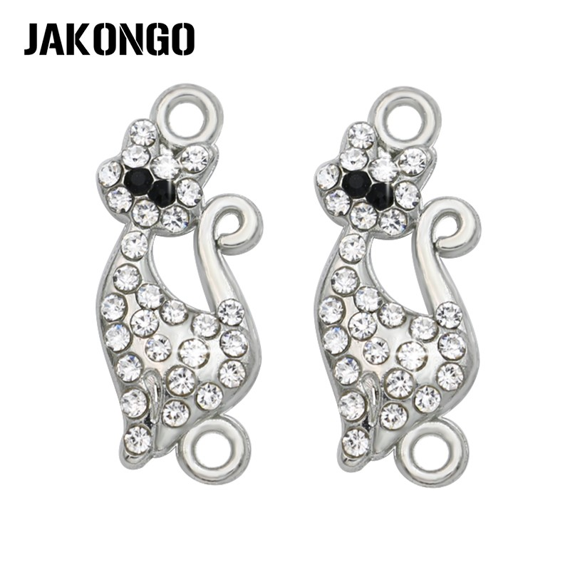 JAKONGO Silver Plated Crystal Cat Connector for Jewelry Making Earrings Accessories Findings DIY 23x10mm 5pcs/lotJAKONGO Silver Plated Crystal Cat Connector for Jewelry Making Earrings Accessories Findings DIY 23x10mm 5pcs/lot