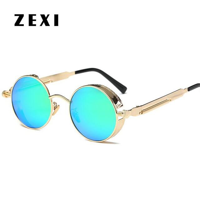 e283318e7d87f1 ZEXI Klassieke Kleine Ronde Zonnebril John Lennon Steampunk Goggles Groen  Vintage Lenzen Ronde Punk Bril met