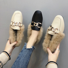 Metal chains leather flats winter loafers women sho