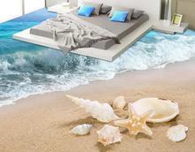 Benutzerdefinierte 3d Bodenbelag Selbstklebend Tapete Strand Wellen Boden Fliesen Wohnzimmer Wallpaper Vinyl Bden