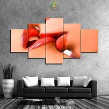 3-4-5 Pieces two red lips Pictures Painting Modern Home Decor Canvas Poster Living Room Wall Art HD Printed