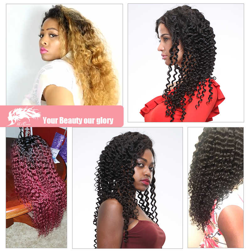 Бразильский парик с крупными волнами натуральный Цвет 8-26 дюймов вьющиеся волосы человека парик Remy глубокая волна вьющиеся Синтетические волосы на кружеве парик для Для женщин