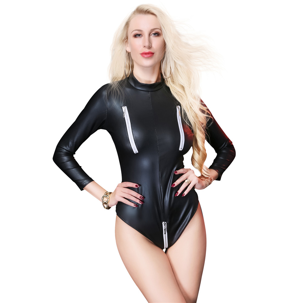 Patent leather Circular collar Long sleeves zipper <font><b>sexo</b></font> open crotch body sexy lingerie porno latex <font><b>catsuit</b></font> bodystocking lenceria image