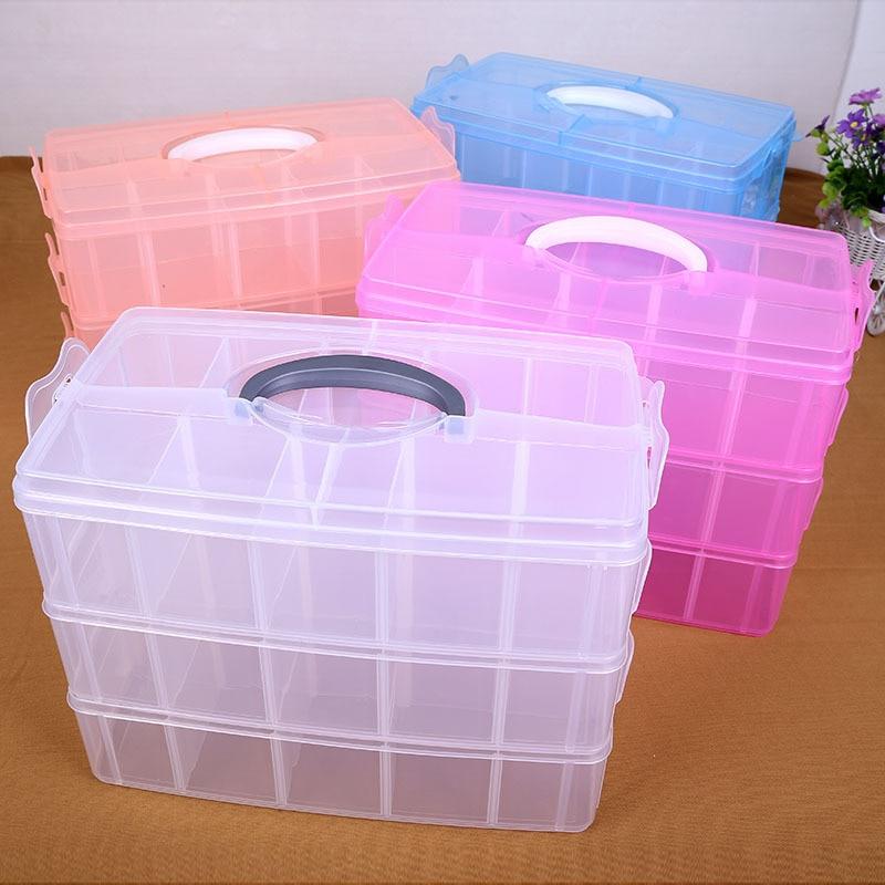 Boite de rangement Boite plastique Caixa organisadora rangement Cajas organisadoras Boite de rangement trois couches 30 boites transparentes grille