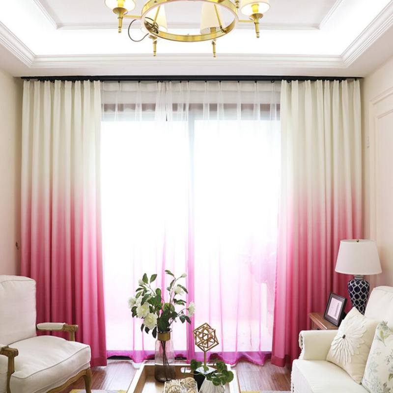 Rose Red Curtains Gradient Color Print Sheer Voile Window Modern Living  Room Curtains Tulle Drapes Fabrics Cortinas X223 #30 In Curtains From Home  U0026 Garden ...